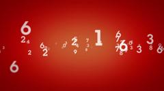 Random Numbers Zooming Red Stock Footage