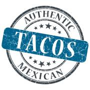 Tacos blue round grungy stamp isolated on white background Stock Illustration