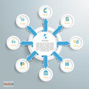 outsourcing infigraphic circle arrows - stock illustration