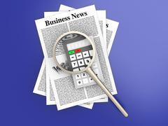 Analyzing business news.. Stock Illustration
