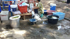A morning market with food, spice and dry goods stalls, Chiang Mai, Thailand. Stock Footage