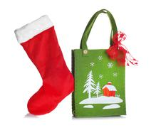 Cloth bag with Christmas decorations - stock photo