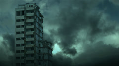 Destroyed skyscraper - view from industrial camera. - stock footage