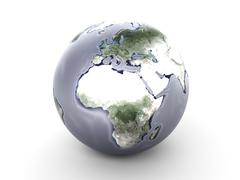 metal globe - europe, africa... - stock illustration