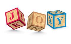 Stock Illustration of word joy written with alphabet blocks