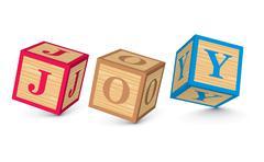 word joy written with alphabet blocks - stock illustration