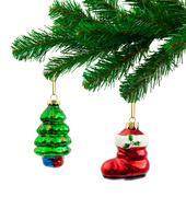 Christmas tree and toys Stock Photos
