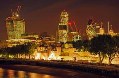 London - Offices at Night - stock photo