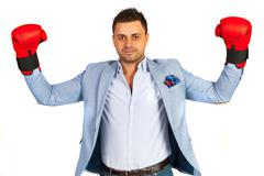 Winner business man - stock photo