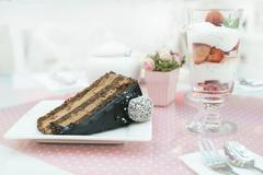 Choco Cake and a milkshake in confectionery - stock photo