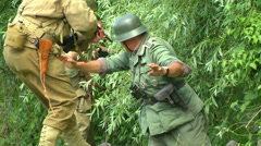 US soldier capture german soldier Normandy 02 Stock Footage