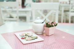 Table in confectionery - stock photo