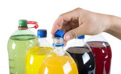 Carbonated drinks in plastic bottles Stock Photos