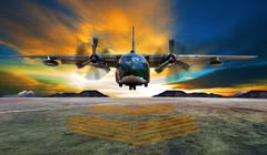 Military plane landing on airforce runways against beautiful dusky sky Piirros