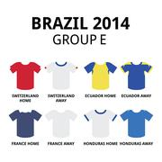 World Cup Brazil 2014 - group F teams football jerseys Stock Illustration