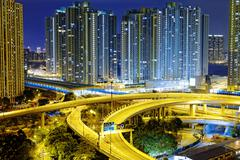Busy traffic night in finance urban Stock Photos