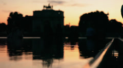 Paris at Sunset reflected on the water, France. Stock Footage