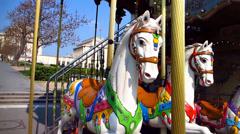 Parisian Merry Go Round Spinning Stock Footage