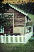 Norwegian typical grass roof country house Stock Photos