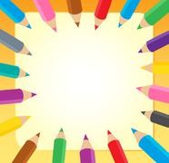 Frame with crayons  Stock Illustration