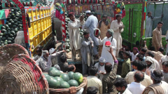 Water Melon on Sale in Fruit Market Lahore Stock Footage