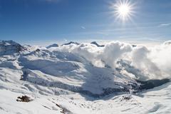 French Alps ski resort La Plagne Stock Photos