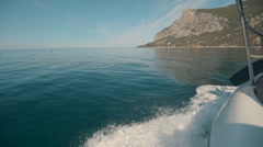 Coast of Crimea. Black Sea from the speed boat on a sunny day Stock Footage