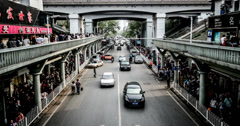 4k, The transportation under the Wuhan Changjiang Bridge, China Stock Footage
