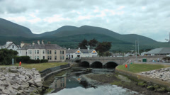 View from bridge over Shimna River in Newcastle, Co Down Stock Footage