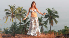 Beautiful bellydancer poses. Stock Footage