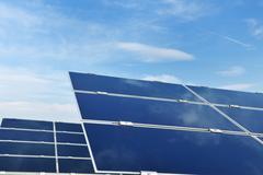 solar panel renewable energy field - stock photo