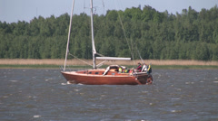 Stylish sailboat built of wood Stock Footage