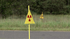 Radiation hazard sign in the Chernobyl exclusion zone. - stock footage