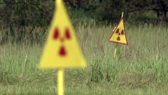Radiation hazard signs in the Chernobyl exclusion zone. - stock footage