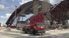 Stock Video Footage of Construction of a new safe confinement over the fourth power in the Chernobyl