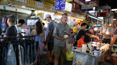 Crowds on Khao San Road in Bangkok, Thailand Stock Footage