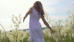 Beautiful happy joyful young woman outdoors. Full HD 1920x1080p. Slow-mo - stock footage