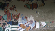 Stock Video Footage of Soviet-era murals on  wall in House of Culture in dead city of Pripyat.