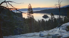 Sunrise at Emerald Bay, Lake Tahoe CA Stock Footage