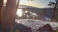 Scenic Waterfall and Lake at Sunrise Stock Footage