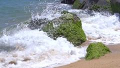 Mediterranean sea waves over beach. Full HD 1920x1080p. Slow-mo - stock footage