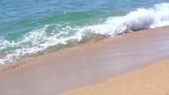 Mediterranean sea waves over sand beach. Full HD 1920x1080p. Slow-mo - stock footage