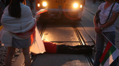 Sofia's Protests Scene -A Man Blocking The Tram Stock Footage