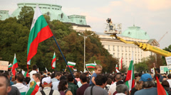 Protesters In Sofia, Bulgaria Stock Footage