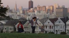 USA, California, San Francisco, Alamo Square Park, Woman with son (2-3) and - stock footage