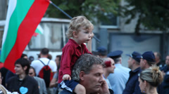 The man with his son on the protest. Sofia, Bulgaria Stock Footage