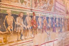 Danse Macabre fresco, Hrastovlje, Slovenia. - stock photo
