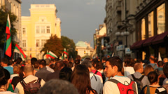 Moving Crowd Of Protesters On The Street, Sofia Stock Footage