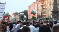 Protesters At The Square In Sofia Stock Footage