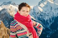Attractive girl in winter Alps Stock Photos
